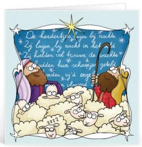 Kerstliedjes teksten voor op een kaartje